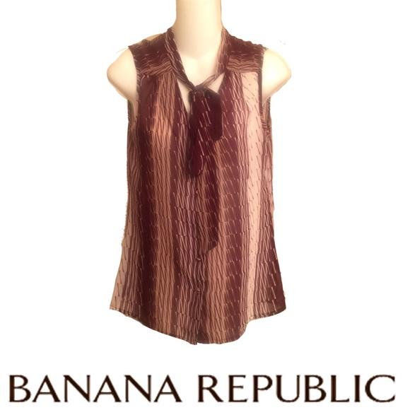 Banana Republic Tops - Banana Republic Sleeveless Top Tie Blouse